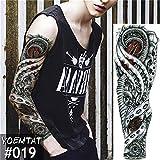 tzxdbh 5 Unids-Grande Manga del Brazo Tatuaje Maori Poder Totem Impermeable Etiqueta Engomada del Tatuaje Temporal Guerrero Samurai Ángel Cráneo Hombres Tatoo Negro Completo 5 Unids-