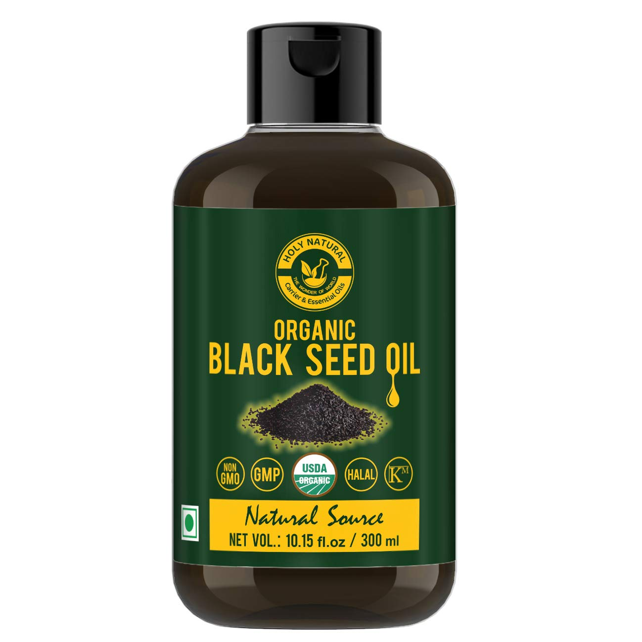 Holy Natural - The Wonder of World USDA Certified, Virgin Cold-Pressed Natural, No GMO, Untreated Organic Black Seed/Nigella Sativa/Kalonji Seeds Oil (300 ml)