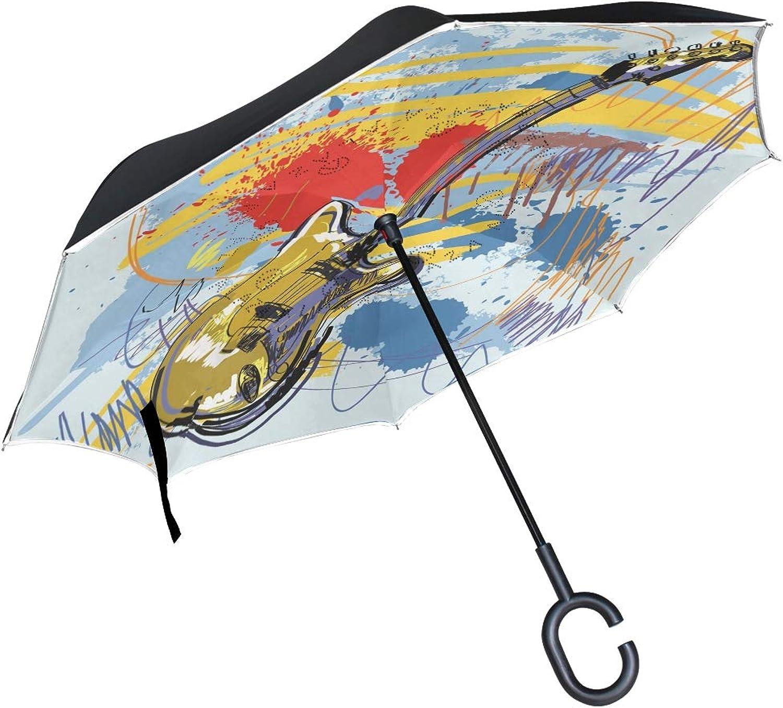 4dc721b60764 FAJRO Abstract Guitar Upside Ingreened CShaped Handle for Car Rain ...