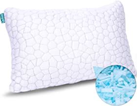 Shredded Memory Foam Pillows for Sleeping Cooling Bamboo Pillow with Adjustable Loft Hypoallergenic Bed Pillows for Side a...