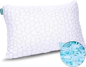 وسائد من الفوم المتكيف للنوم - وسادة خيزران - قابلة للتعديل - وسادة سرير مرتفعة لا تسبب الحساسية للنوم من الجانب والخلفي -...