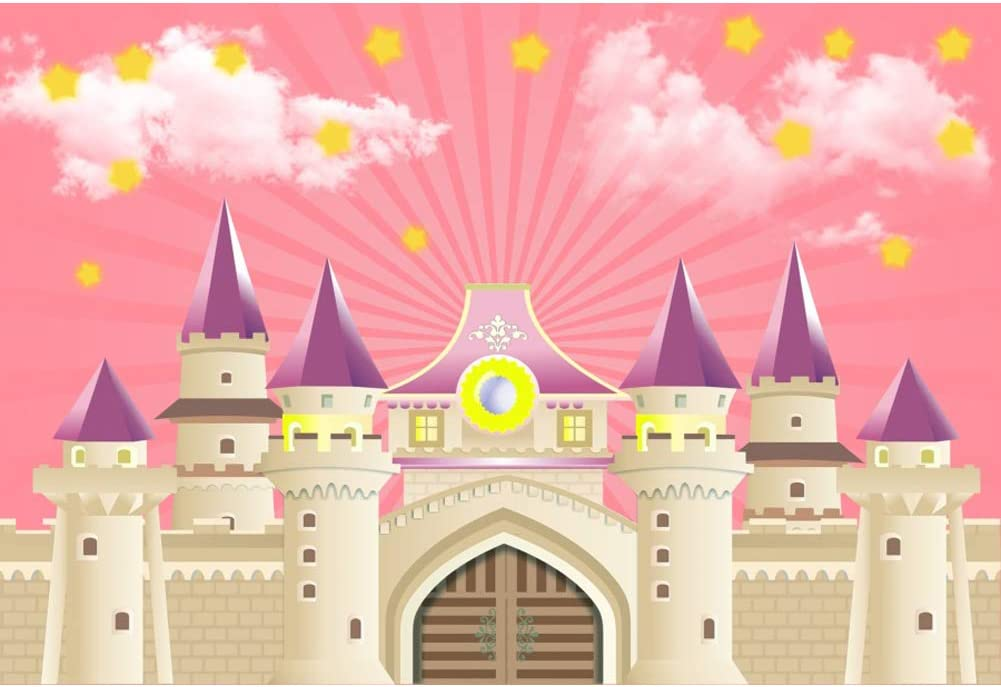 Yeele 5x3ft Happy Birthday Photography Background Cartoon Pink Castle Princess Colorful Flower Birthday Party Decoration Baby Photo Backdrop Studio Props Video Drape