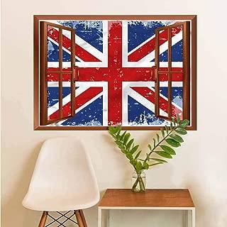 British Stickers Decor Vintage England London Flag Wallpaper Decor W12xL18 INCH