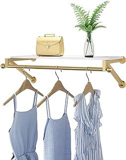 MissZZ Porte-vêtements Porte-vêtements pour tuyaux industriels, Porte-vêtements Mural avec étagère supérieure en Bois, Por...