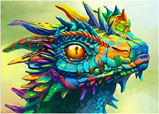 ufengke Colorful Dragon 5D Diamond Painting Kits by Numbers Full Drill Diamond Embroidery Cross Stitch, 25 35cm Design