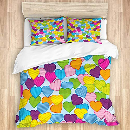 Aliciga Decorative Duvet Cover Set,Abstract Love heart background,Microfibre 135x200 with 2 Pillowcase 50x80,Single
