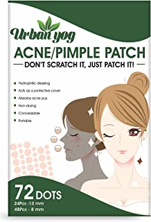 Urban yog Acne Pimple Patch - 72 Invisible Facial Stickers cover with 100% Hydrocolloid, overnight Pimple / Acne Absorbing...