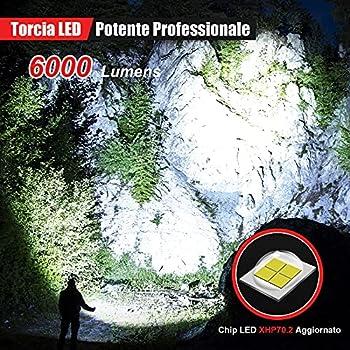 Shadowhawk Lampe Torche LED Ultra Puissante, Lampe de Poche Rechargeable, Lampe Tactique 6000 Lumens CREE XHP70.2, IP67 Étanche 5 Modes D'éclairage pour Camping Randonnée Urgence (avec batterie 26650)