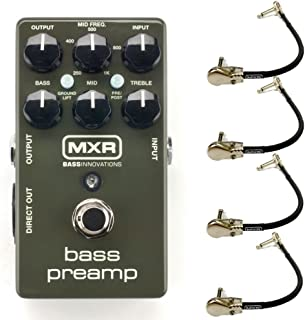 MXR M81 Bass Preamp Effects Pedal Bundle with 4 MXR Right Angle Patch Cables