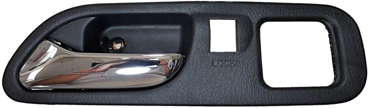 PT Auto Warehouse AC-2701MA-FL2 - Interior Inner Inside Door Handle, Black Housing with Chrome Lever - with Memory Seat Hole, Driver Side Front