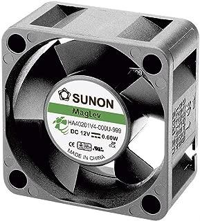 SUNON HA40101V4-0000-999 DC Brushless Fan, 12V, 10 mm H x 40 mm L x 40 mm W