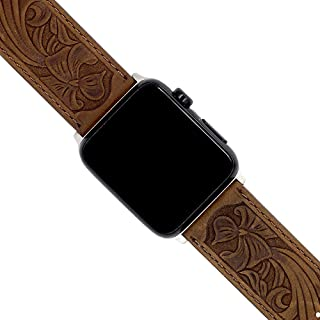 western tooled leather apple watch band