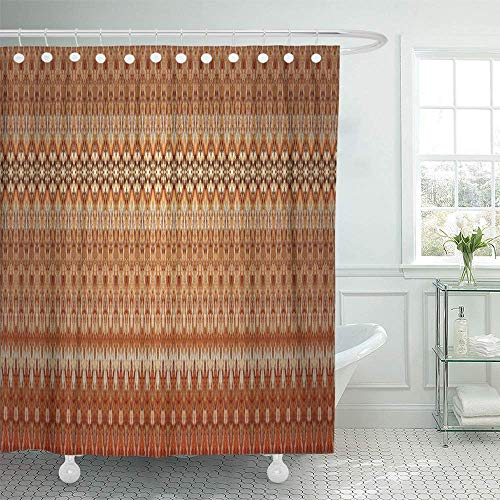 QIUJUAN Duschvorhang, Waterproof Decorative Bathroom 72 x 72 inches Orange Colorful Bark Abstract Pattern Erscheinungsbild Like Batik Sarong in Asian Focus for Red Polyester Fabric Set with Hooks