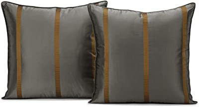 HPD Half Price Drapes DS-MDSTK5-CC18PR Silk Taffeta Stripe Cushion Covers - Pair (2 Pieces), 18 X 18, Preston