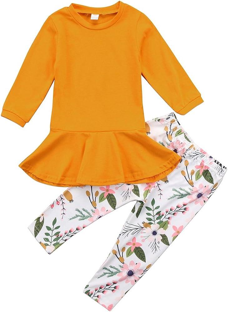 2Pcs/Set Kids Toddler Baby Girl Outfits Long Sleeve T-Shirt Top