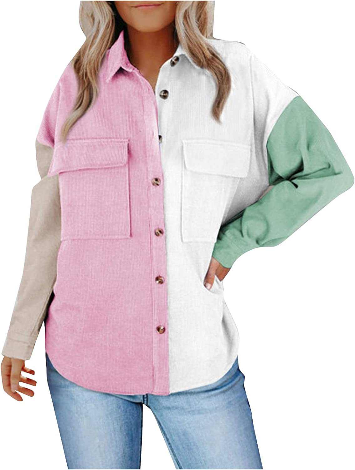Womens Corduroy Shirts Casual Long Sleeve Button Down Loose Lapels Tops Fashion Patchwork Coat Outwear
