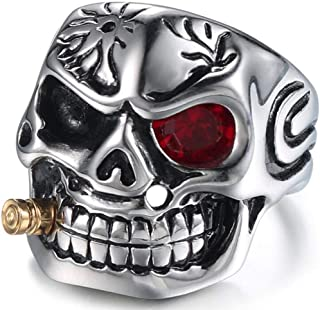 Vintage Stainless Steel Gothic Skull Smoking Bullet Biker Cocktail Party Ring