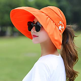 QYJpB-Hats Womens Visor Hats Wide Brim Cap Roll Up Hat Beach Sun Hat, Women UV Protection Packable Bucket Hat (Color : Orange)