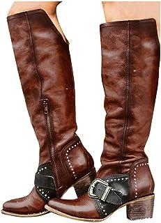 Padaleks Women's Knight Boots Round Toe Winter Retro Leather Knee High Bootie Side Zip Waterproof Outdoor Western Shoes