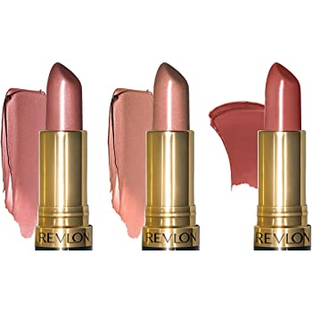 Revlon Super Lustrous Lipstick with Vitamin E and Avocado Oil, 3 Piece Lip Kit Gift Set (420 Blushed - Pearl, 205 Champagne on Ice - Pearl, 325 Toast of New York - Cream), 2.4 oz