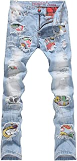 Men's Patchwork Hole Ripped Jeans