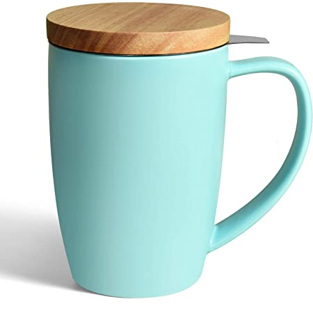 COYMOS Ceramic Tea Mug with Infuser and Lid, 16oz Loose Leaf Tea Cup Large Handle Teaware Mug, Tea Lover Gifts for Women and Man (Turquoise)