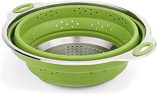 iNeibo Colador de Cocina de Silicona y Acero Inoxidable, Plegable y Apto para lavavajillas. Verde