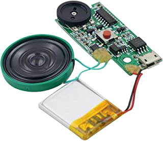 Rechargeable MP3 Sound Chip Module Voice Player Circuit Board with Speaker Lithium Battery Powered, USB Download, Push But...