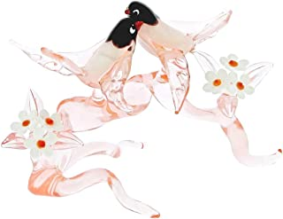 GlassOfVenice Murano Glass Birds on a Cherry Branch - Tender Rose Pink