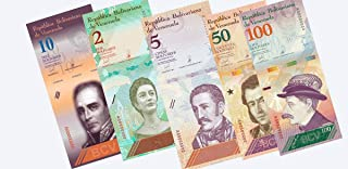 Venezuela Paper Banknotes 100 + 50 + 10 + 5 + 2 Bolivares Currency 5 Pieces 1 of Each