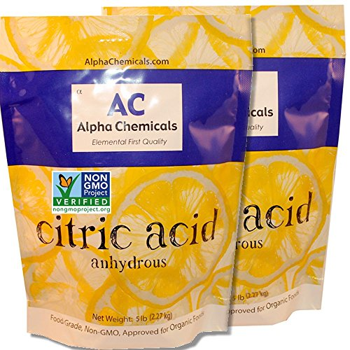 Image of 2 bags of citric acid, the secret ingredient to remove rust stains and mineral deposits from bathtubs, showers, sinks and toilets