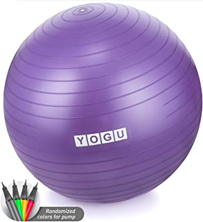 YOGU Stability Exercise Ball 65cm Yoga Balance Ball Birthing Ball with Air Pump Anti-Slip & Anti-Burst Supports 2000lbs Great for Yoga Pilates Abdominal Workout Fitness Ball and Office Chair