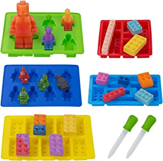 5 Pack Silicone Chocolate Candy Molds, Minifigure and Building Brick Molds for Fondant Ice Cube Crayon Jello Gummy Cake Baking Cupcake Decoration