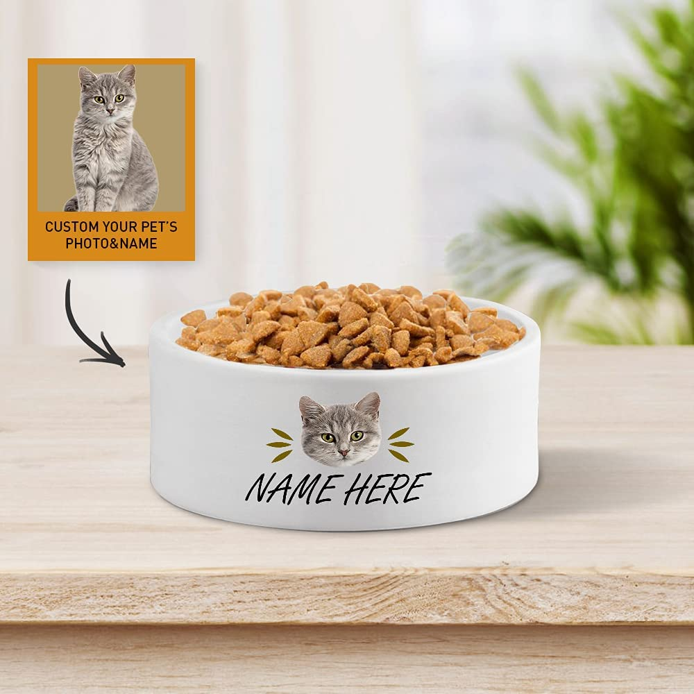 WRGIFTS Personalized Custom Cat Limited time for free shipping Bowl Photo P Name Max 54% OFF Ceramic