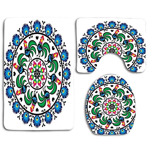Cerchio con Galli Mandala Forma Rotonda Nazionale Europa Centrale Simbolo Mosaico Arte 3 Pezzi Set tappeti Bagno Tappeto Bagno Antiscivolo + Tappetino WC a Forma di U + Coprisedile WC
