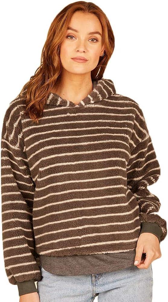 Vintage Havana Women's Striped Fuzzy Hoodie Sweater