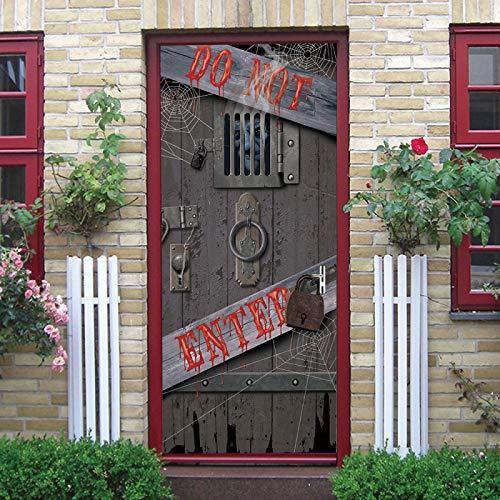LuSeven vinilo puertas adhesivo Puerta de madera en ruinas 77x200cm(30.31 inches * 78.74 inches) Murales Para Puertas 3D Calcomanías de las puertas en 3D Papel Pintado Puerta 3D Pegamento Sala de Esta