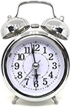 WOODSTER Analogue Vintage Look Twin Bell Table Alarm Wind-Up Clock with Night Led Light (Silver)