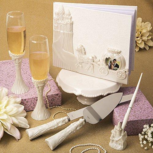 Fairytale Design / Cinderella Themed Wedding Accessory Set Including Flute Set, Cake Knife Set, and Pen