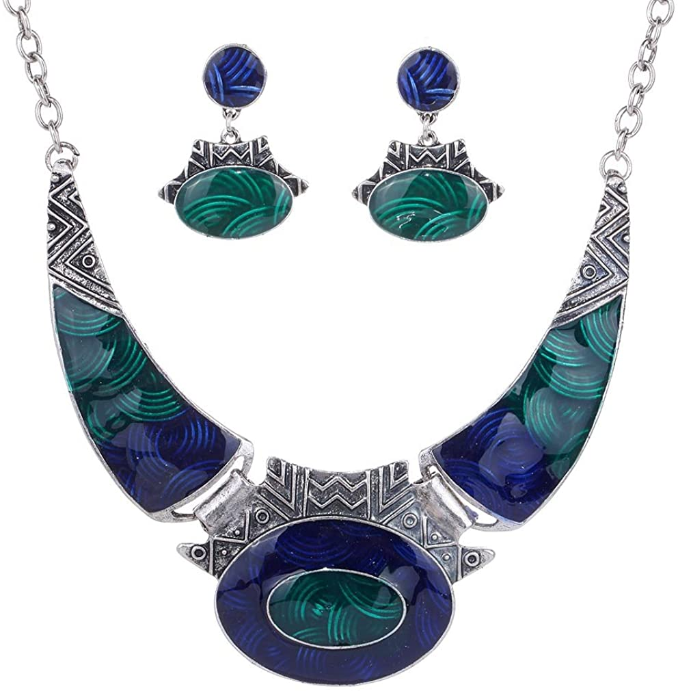 YAZILIND Ethnic Color Embossed Oval Gangle Bib Collar Earrings Necklace Jewelry Set Women
