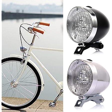 LED Retro Bicycle Light Black//White Bracket Bike Front Dutch Vintage Head
