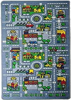 Mybecca Kids Rug City Map Fun Play Rug 3' X 5' Children Area Rug - Non Skid Gel Backing (39