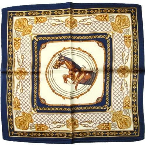 Nella-Mode Elegantes & modisches NICKITUCH, Tuch, Halstuch Pferde Design: Springpferd, 53x53 cm; BLAUER Rand