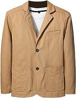 FSSE Men's Casual Business Solid Slim Cotton Suit Dress Blazer Jacket Suit Coat