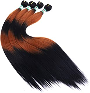 4 Pieces Silky Straight Synthetic Hair Weave Bundles Extensions Color Ombre Black Fading to Brown Bundles 20 20 22 22 Inches(T1/30/1/30/1#)