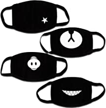 Teenitor Anti Dust Anime Mask Cotton Mask, Cut EXO Anti Dust Face Mouth Mask for Kids Teens Black - 4pcs A Set
