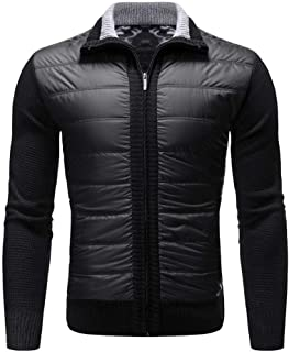 Sunhusing Men's Zip Stitching Lapel Solid Color Long Sleeve Pocket Patchwork Cardigan Sweater Jacket Outwear