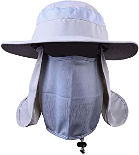 Outdoor Hiking Camping UV Protection Face Neck Cover Fishing Cap Visor Hat Neck Face Flap Hat Wide Brim Buckle,3,L