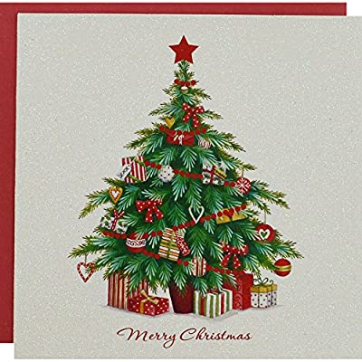 White Glitter Tree Premium Christmas Cards - Pack Of 10