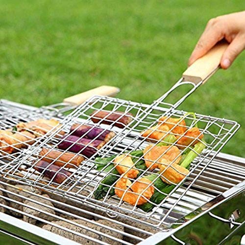 Krevia VelKro Chromium Plated Stainless Steel Barbecue BBQ Grill Net Basket with Wooden Handle (Silver, Medium)